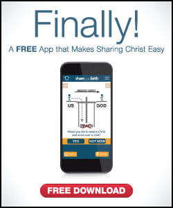Mobile Phone showing the Share Your Faith App